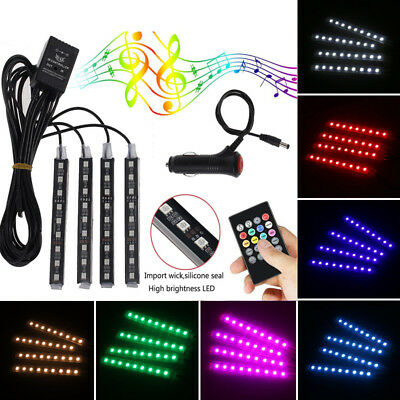 4Pcs RGB 9LED Car Auto Interior Neon Atmosphere Strip Light Music Remote Control