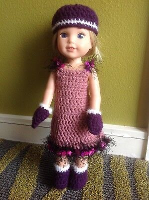 Wellie Wishers purple boot hat mittens fit American Girl 14 doll clothes outfit