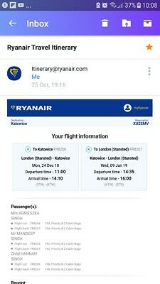 Ryanair Flight Tickets x 2 adults1k to katowice Poland from Stansted Dec 24th