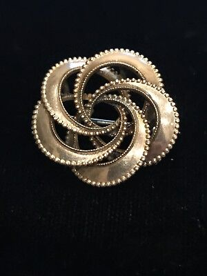 Antique Victorian Vtg Rose Gold Filled Loop Swirl Design Circle Lapel Collar Pin
