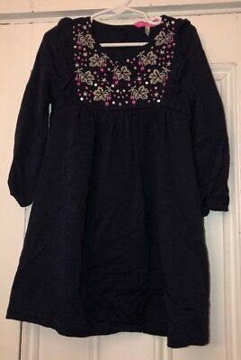 Joules Girls Navy Blue Dress Silver Embroidered Leaves Sequin Sz 5 110