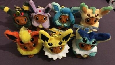 Official Pokemon Center Set 7 Poncho Eeveeloution Eevee Keyring Plushies Bnwt