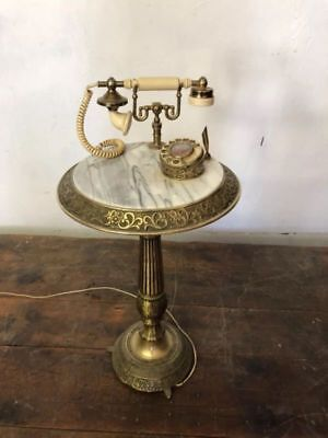 Vintage French Style Brass Marble Floor Telephone Stand Table Mid Century