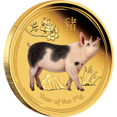 2019 Year Of The Pig 1oz Gold Proof Coloured Coin
