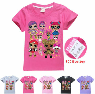 Kids Girls Lol Surprise doll 100% Cotton Summer T shirt Casual Tops Clothes