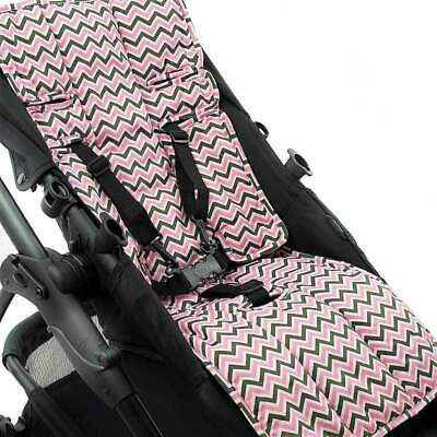 Cotton + Cotton Pram Liner - Pink/ Charcoal/ White Mini Chevron