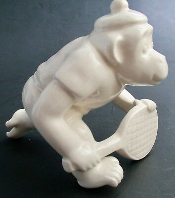 Vintage Fitz and Floyd Japan Monkey Playing Tennis All White Figurine Figure