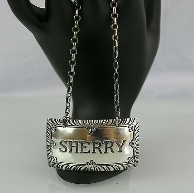 Williamsburg Stieff Sterling Silver Decanter Liquor Bottle Tag Label~ SHERRY