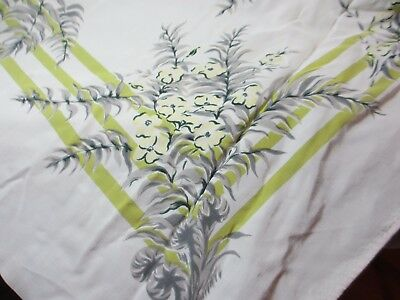 1940 -50's  Tablecloth 45 x 51  Repurpose  Chartreuse Grays Yellows  Mid Century