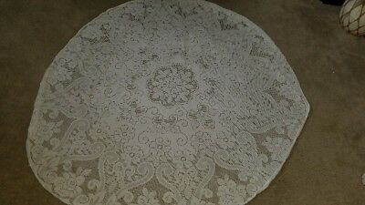 Lace Table Cloth Round White