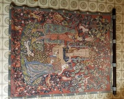 French tapestry wall hanging Le Roman De La Rose French midevil vintage