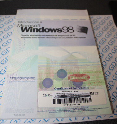 LICENZA license certificate Microsoft Windows 98 no CD solo manuale Italiano ITA