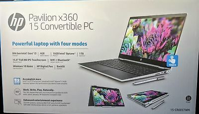 "NEW HP X360 15.6"" TouchScreen i3-8130U/20GB/1TB/Win10/Backlit Keyboard w/Pen"