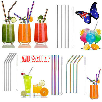 4x Premium Stainless Steel Metal Drinking Straws Straight/Bent  Washable FO