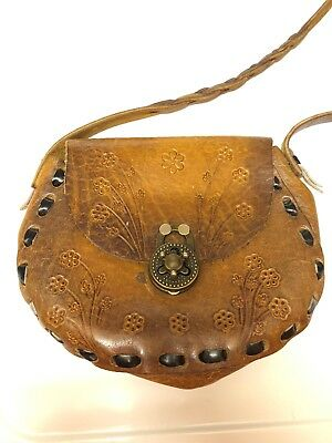 Vintage Hand Tooled Brown Floral Leather Shoulder Bag Metal Rotary Clasp Flap