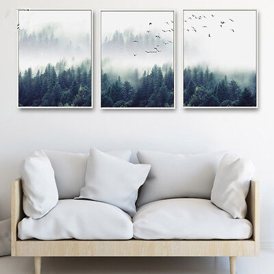 Nordic Foggy Forest Birds Canvas Wall Painting Picture Home Decor Unframed Funny