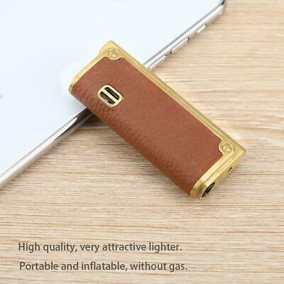 Portable Leather Metal Windproof Inflatable Lighter NO Fuel Gift Festival Red