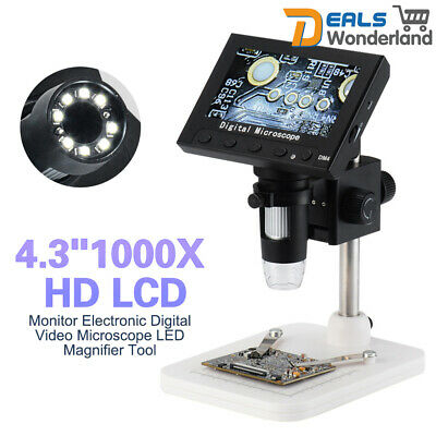 "4.3"" 1000X HD LCD Monitor Electronic Digital Video Microscope LED Magnifier Tool"