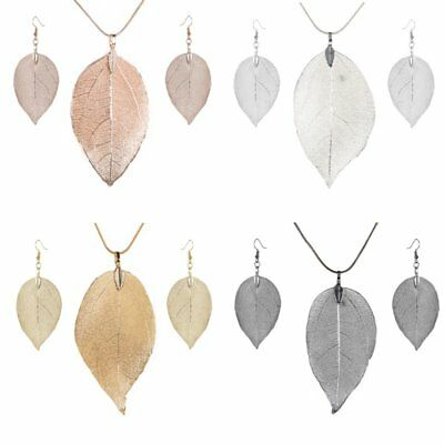 Vintage Women Long Natural Real Dipped Leaf Leaves Necklace Earrings Jewelry Set