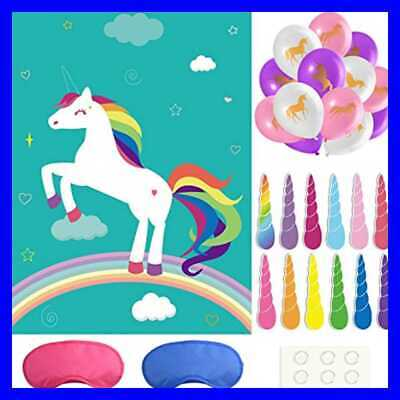 Pin The Horn On Unicorn Party Game For Themed Activities Set 24 Reusable Horns F