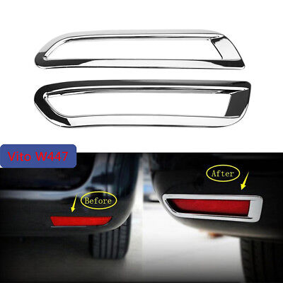 2x Chrome Rear Fog Light Lamp Cover Trim For Mercedes Benz Vito W447 2014-2017