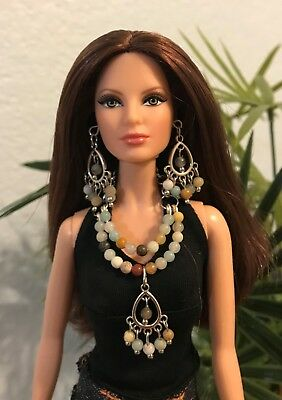 Barbie Handmade Jewelry Iridescent Pendant and Crystal Necklace And Earrings