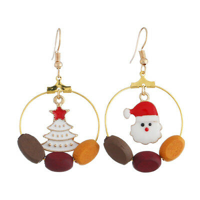Christmas Ear Stud Earrings Santa Claus Women Party Jewelry Fashion Asymmetry