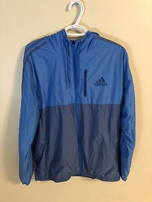 eb158b5aab55 Adidas Full Zip Hooded Blue Athletic Jacket Mens Large Excellent Condition