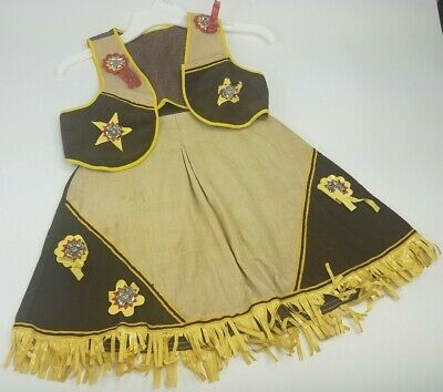 Vintage Girls Brown Cream Skirt Vest Western Cowgirl Outfit with Yellow Tassels