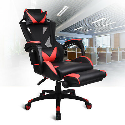 Executive Office Computer Chair Adjustable Swivel Gaming Desk Seat Footrest Red
