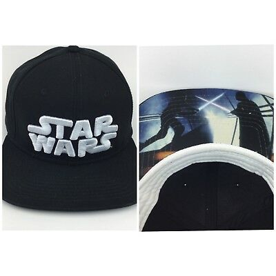 f018a4a673f Star Wars logo Lucas Films Graphic Snapback Baseball Cap Hat black with  white