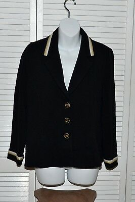St John Collection Marie Gray Santana Knit Black Jacket Tree Buttons Size 6 USA