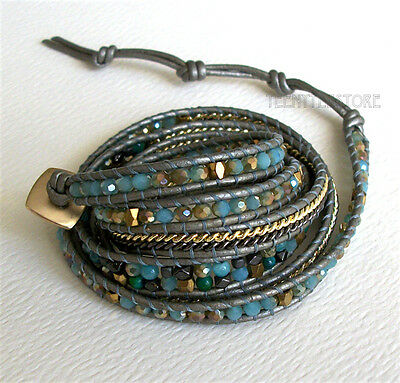 Nakamol 5 Wrap up Crystal, Agate, Hematite, Metal Beads,Chain & Leather Bracelet