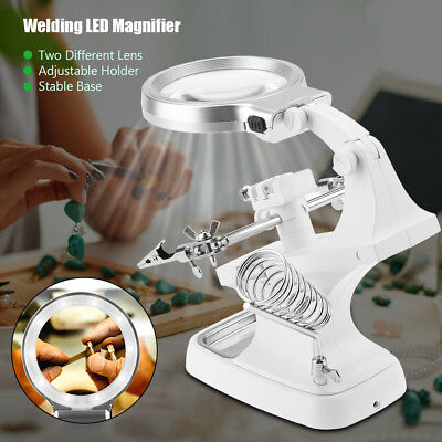 Welding LED Magnifier 360° Rotation Magnifying Glass Soldering Watch Repair Kit