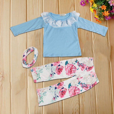 Newborn Baby Girls Outfit Clothes Romper Jumpsuit Bodysuit Pants Hat  Headband