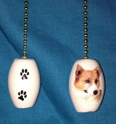 """One Corgi Dog Fan Pull with Paw Prints on the Back 1"""""""