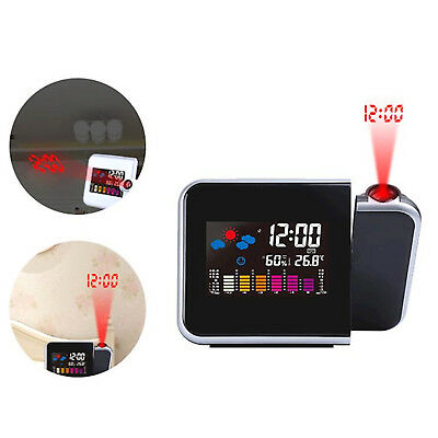 LED Digital Alarm Clock Time Projector Weather Thermometer Snooze LCD Color UK