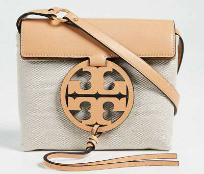 ac24fe6e5074 TORY BURCH  498 Natural Canvas   Leather Moto Tall Swingpack NWT ...