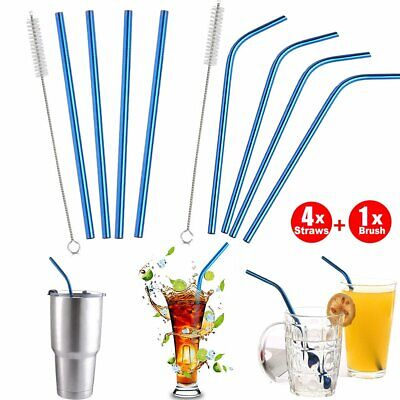 Blue Stainless Steel Metal Drinking Straw Straws Reusable Washable & Brush PQ