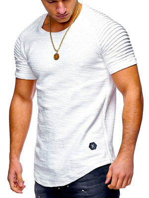 Nouveau Manches Courtes Ourlet Courbe T-Shirt Homme Coupe Slim Col Rond Muscle