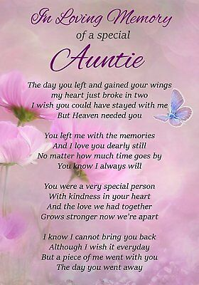 In Loving Memory Special Auntie Memorial Graveside Poem Card & Ground Stake F302