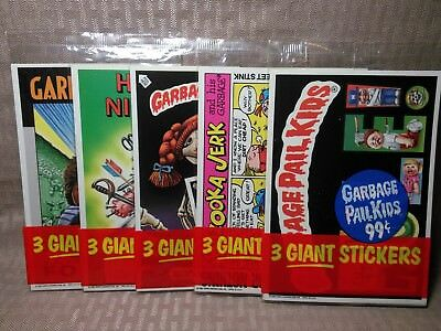 Vintage 1986 Garbage Pail Kids Giant Stickers Cards Series 2 Lot 5 Packs
