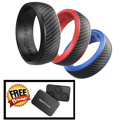 IKonfittness 3 Color Silicone Ring Rubber Wedding Anniversary Band for Men Women