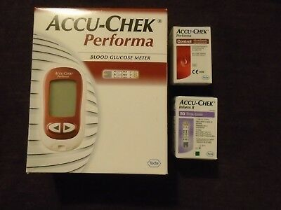 New Accu-Chek Performa BM Kit, 50 Test Strips & Control - Blood Glucose Monitor