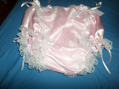 Adult Baby Sissy Pink Satin Lace Panel  Trim Panties White  Bows 30-45  Waist