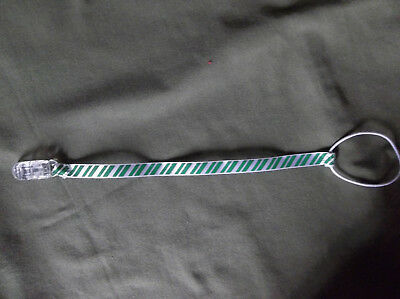 Handmade Baby Pacifier Clip - Green & White Striped Ribbons