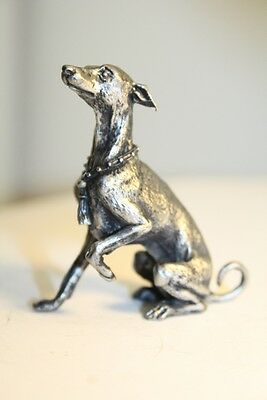 Italian Greyhound, whippet, silver color statue, dog miniature pewter figurine