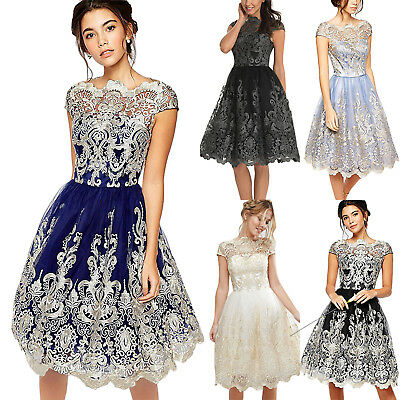 Women Embroidery Lace Floral Short Sleeve Party Wedding Dress Ladies Swing Skirt