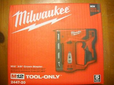 "Milwaukee 2447-20 M12 3/8"" Crown Cordless Stapler T-50 New"