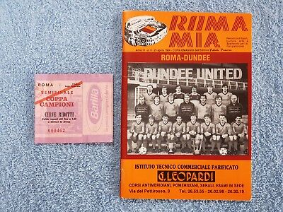 1984 - EUROPEAN CUP SEMI FINAL PROGRAMME + TICKET - ROMA v DUNDEE UNITED